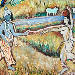ROMANCE OF RADHA KRISHNA size - 17x13In - 17x13