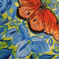 THE BUTTERFLY AND THE FLOWERS size - 12x16In - 12x16