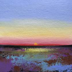 Lovely Sunset ! Miniature ! Small Painting size - 6x6In - 6x6