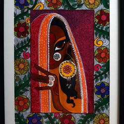 Mrignayani In Madhubani Frame size - 15x19In - 15x19