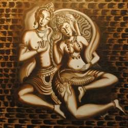 Shiv Parvati size - 24x33In - 24x33