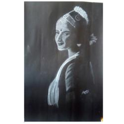 Bharatanatyam Dancer Potrait  size - 11.8x20In - 11.8x20