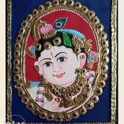 Lord Krishna Tanjore Painting size - 8x10In - 8x10