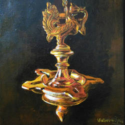 Hanging Bronze Lamp Painting size - 8x11In - 8x11