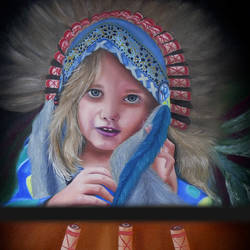 North American Indian Cute Girl size - 18x24In - 18x24