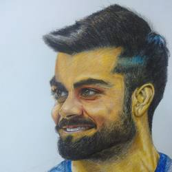 Virat Kohli Color Pencil Portrait size - 11x16In - 11x16