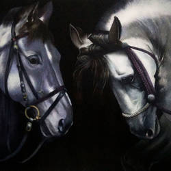 Horses in Romantic size - 33x29.5In - 33x29.5