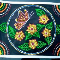 Floral Dot Mandala size - 15x11In - 15x11