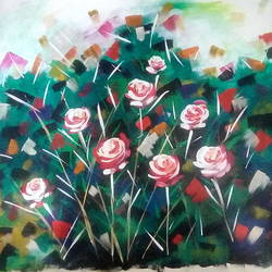 Abstract Flowers size - 18x17In - 18x17