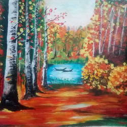 Forest and Lake landscape size - 18.5x17In - 18.5x17