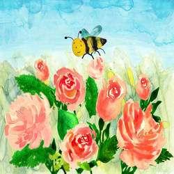 Bumble Bee amongst Roses size - 11.69x8.27In - 11.69x8.27