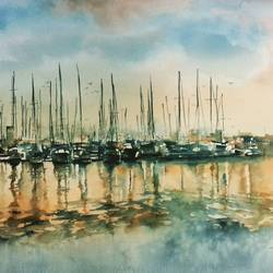 Boats in evening  size - 22x18In - 22x18