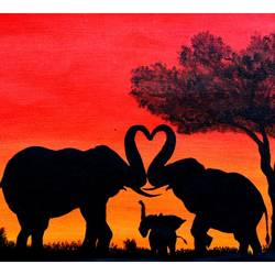 Original oil Painting Elephants - The Grand Parade size - 7.08x10.4In - 7.08x10.4