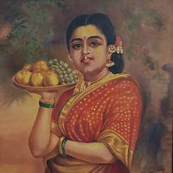 Lady with Fruit Basket size - 26x31In - 26x31