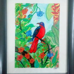 Red bird size - 8x10In - 8x10