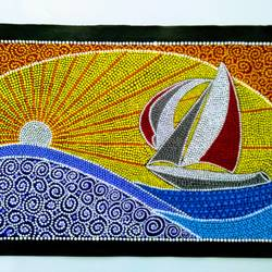 Sunset with yatch size - 22x15In - 22x15