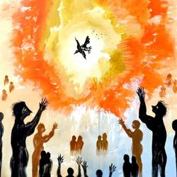 Lovebird - God's Message of Peace to Humans size - 30x40In - 30x40