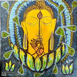 Lord Buddha - Source of Happiness size - 30x30In - 30x30