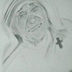 mother teresa realistic portrait size - 12x16In - 12x16
