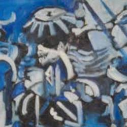 based on Picasso Art Guernica in blue colour size - 12x16In - 12x16