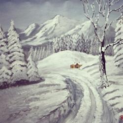 Snowfall size - 30x28In - 30x28