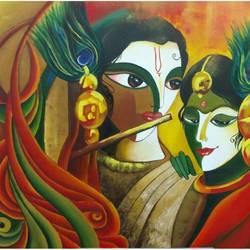 Radha Krishna the divine duo size - 36x30In - 36x30
