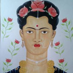 """Kalighat Pata Chitra"" inspired by ""Frida Kahlo"" size - 12x15In - 12x15"