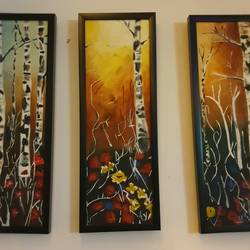 Forest triptych size - 9x25In - 9x25