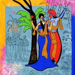 Radha Krishna  size - 35x35In - 35x35