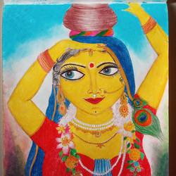 Radha bringing water from river size - 8.25x11.6In - 8.25x11.6