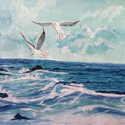 Birds flying over sea size - 11.6x8.25In - 11.6x8.25