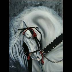 Beautiful Horse Black and White Abstract Painting size - 18x24In - 18x24