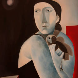 LADY WITH AN OWL. size - 24x36In - 24x36