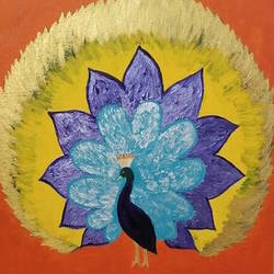 Peacock textured  size - 16x20In - 16x20