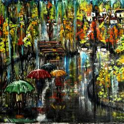 rainy street and a lonely bench size - 35x18In - 35x18