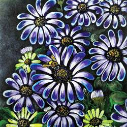 purple flowers and a honey bee size - 15x18In - 15x18