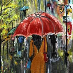a lady with red umbrella  size - 10x21.5In - 10x21.5