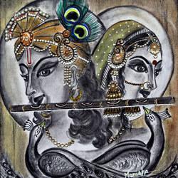Radha krishna size - 16x17.5In - 16x17.5