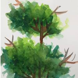 Abstract Tree size - 8.27x11.69In - 8.27x11.69