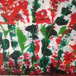 Abstract flowers with knife size - 16x11In - 16x11