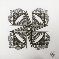 Geometric Lotus Mandala size - 7x5In - 7x5