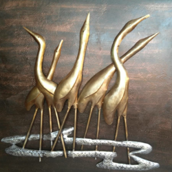 Royale play metallic swan textured art size - 36x40In - 36x40