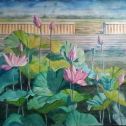 Lotus pond size - 11x15In - 11x15