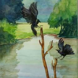 Crows in a joyful mood size - 15x22In - 15x22