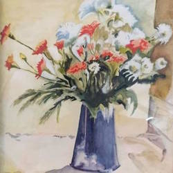 flowers watercolors size - 3x5In - 3x5