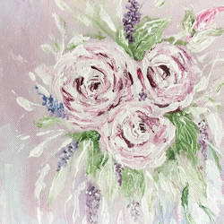 roses,lilac and white, acrylic painting size - 8x10In - 8x10