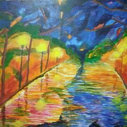 The Rainy Street Mosaic size - 18x14In - 18x14