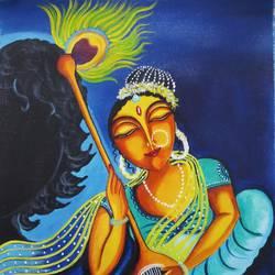 Mirabai and Krishna Shadow size - 16x20In - 16x20