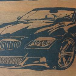 Car pyrography art size - 21x12In - 21x12