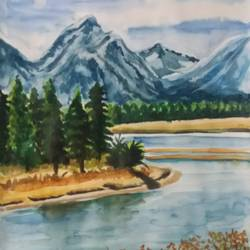 MOUTAIN WITH RIVER size - 11x15In - 11x15